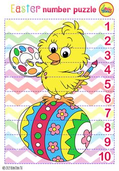Easter themed Preschool Printables - Free worksheets, number puzzles - tracing letters, numbers and other activities - fun learning by BonTon TV Easter Puzzles, Easter Worksheets, Free Worksheets, Easter Activities For Preschool, Free Preschool, Preschool Printables, Easter Projects, Easter Crafts, Rainbow Cartoon
