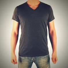 Charcoal Men's Short Sleeve V-Neck Tee MADE in USA – 50% Cotton, 50% Polyester,     MADE in USA, Machine Wash, V-neck, Lightweight, Classic fit #ForeverRaw #Black #TheBoss