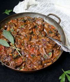 An easy, savory, flavorful, meaty and piping hot vegan Mushroom Stew. One-pot, 30-minute recipe. Gluten-free and nut-free.