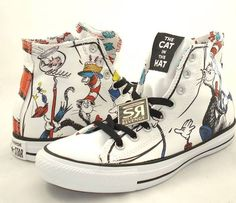 New Converse DR. SEUSS Cat in the Hat Mens Hi All Star Chuck Taylor White Shoes