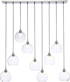 "fly by nine.  Industrial modern chandelier by Mark Daniel suspends nine glass globes from nickel-finished iron canopy.  Pendants stagger in length on black cords 19"" to 52"".  Great look with filament bulbs or our 25W candelabra bulb.  Hanging hardware included.  Learn about Mark Daniel on our blog."