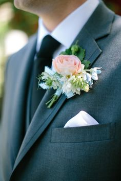 Lovely, full boutonniere: http://www.stylemepretty.com/california-weddings/2014/08/20/romantic-temecula-creek-inn-wedding/ | Photography: Swoon by Katie - http://swoonbykatie.com/