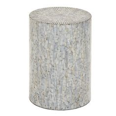 20 Vintage Traditional Wood Inlay Stool Featuring Mosaic Motif of Pearl Shell Tiles in Iridescent Silver Gray Age Group: Adult. Wood and Shell Tile Round Stool Accent Table Silver - Olivia & May Round Accent Table, Round Stool, Brick Patterns, Buy Wood, Wood Accents, My Living Room, End Tables, Coffee Tables, Shell