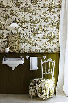 Chinoiserie Bathrooms. Kinda love this toille.