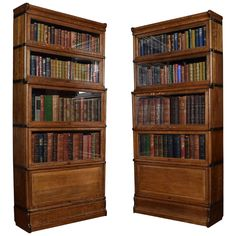 Near Pair of Oak Globe Wernicke Five-Section Bookcases | From a unique collection of antique and modern bookcases at https://www.1stdibs.com/furniture/storage-case-pieces/bookcases/