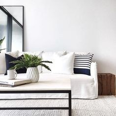 Clean lines and a fresh feel as styled by and featuring our Bondi striped cushion. Casual Living Rooms, Striped Cushions, Apartment Living, Couch, Photo And Video, Cushion Inspiration, Interior Design, Clean Lines, Furniture