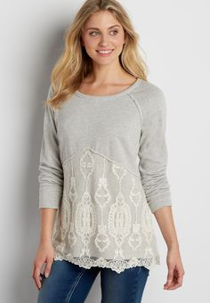 french terry pullover sweatshirt with embroidered mesh overlay (original price, $39.00) available at #Maurices