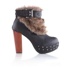 Rivets Faux Fur Cuffed Black Boots ❤ liked on Polyvore