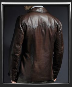"Vintage leather jacket with 70s collar. Leather jacket for men ""Heist Leather Jacket"" in antique brown by Soul Revolver. Made in Italy. 100% Italian nappa leather."