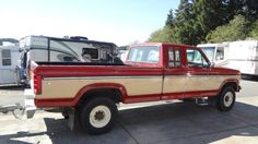 1985 Ford 250 Super Cab. Mine was red with white.  460 cu. inch automatic. It got about 6 miles per gallon.