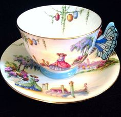 Rare Aynsley Venetian Lady Butterfly Handle TEA CUP AND Saucer Hand Painted