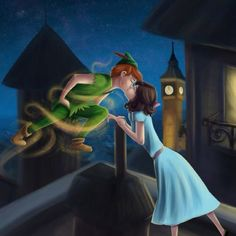 """Wendy and Peter Steal a Kiss"" - Peter Pan. I don't like Wendy/Peter together…"