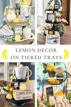 10 amazing summer tiered tray ideas using lemon decor. Decorate a two or three tiered tray. Check out tips on how to style your tray. Lemon Kitchen Decor, Farmhouse Kitchen Decor, Kitchen Ideas, Yellow Kitchen Decor, Country Kitchen, Farmhouse Style, Kitchen Industrial Design, Kitchen Design, Home Design