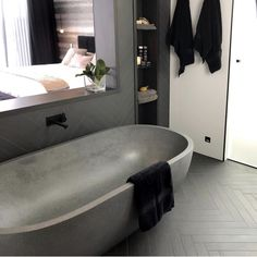 Our elegant Ryese stone bath in grey Matt designed by renown designer James Treble. Stone Bath, Bathtub, Bathroom, Elegant, Grey, Design, Standing Bath, Washroom, Classy