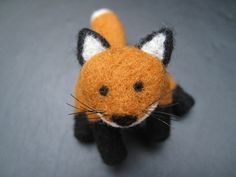 Red Fox Sculpture - Posable and Jointed - Needle Felted Wool. $42.00, via Etsy.