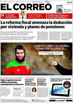 Los Titulares y Portadas de Noticias Destacadas Españolas del 25 de Enero de 2013 del Diario El Correo ¿Que le parecio esta Portada de este Diario Español?