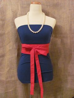 Gameday Top - Red and Blue - Ole Miss - Blue Tube Top Red Wrap Belt