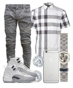 """"" by ebkkeef ❤ liked on Polyvore featuring Burberry, Balmain, Gucci, Native Union, Kobelli, men's fashion and menswear"