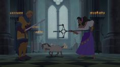 Esmeralda and Phoebus, fighting by candlelight, hunchback of Notre Dame