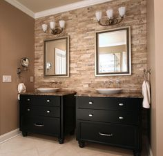 stone wall with his and hers sinks