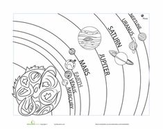 Worksheets: Solar System Coloring Page - teaches order from the sun also; like this one a lot
