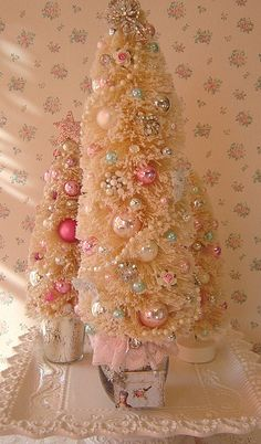 Vintage White bottle brush tree with old jewelry