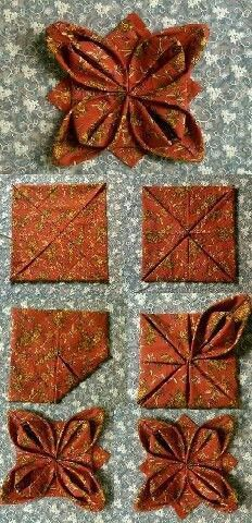 origami with fabric: Fabric Art, Fabric Crafts, Sewing Crafts, Paper Crafts, Fabric Origami, Origami Paper, Origami Quilt Patterns, Napkin Origami, Quilting Projects