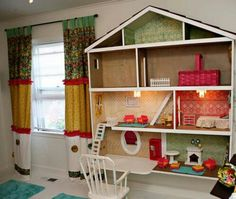 Girls bedroom idea! Cute dollhouse shelves