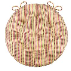 Atwood Red Bistro Chair Pad - Round Cushion with Ties - Indoor / Outdoor Bistro Patio Set, Bistro Chairs, Outdoor Chair Cushions, Round Cushions, Yellow Cushions, Free Fabric Swatches, Fabric Suppliers, Home Decor Online, Chair Pads