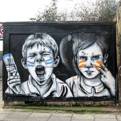 Don't mess with the kids by @zabouartist in London (http:// globalstreetart.com/zabou) #globalstreetart