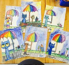 SO MUCH PETE THE CAT CUTENESS!!! ☔️ #kindergarten #waxresist #petethecat #roygbiv #rainbow #artteacher #artwithmrse