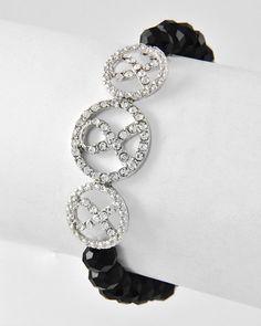 Rhodiumized / Black Glass Crystal & Clear Rhinestone / Lead Compliant / Stretch / Bracelet