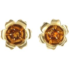 Pre-Owned Vintage Citrine Flower Cocktail Earrings 14k Yellow Gold ($595) ❤ liked on Polyvore featuring jewelry, earrings, yellow gold, 14k earrings, holiday earrings, vintage screw back earrings, 14 karat gold earrings and 14k gold earrings