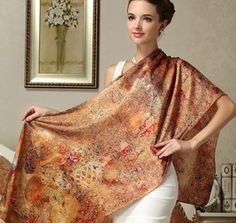 Choose from 17 designs. Floral Scarf, Mulberry Silk, Long Scarf, Silk Scarves, Wraps, Sari, Pretty, Fashion, Coats