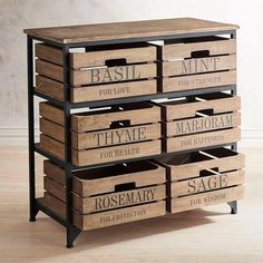 Our clever herb storage chest is loaded with farm-to-table charm thanks to its weathered wood and metal construction, plus shiplap-inspired drawers with handy cut-out handles. Not an herb person? Just turn the drawers around and use their blank side. Diy Wood Projects, Woodworking Projects, Drawer Storage Unit, Storage Chest, Diy Storage, Storage Ideas, Chest Drawers, Cabinet Storage, Storage Shelves
