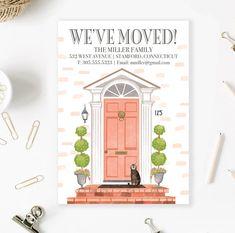 Custom House Portrait Moving Announcement Illustration Card