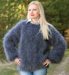 New Hand Knitted Mohair Sweater Unisex BLUISH GRAY Herren Pullover by SUPERTANYA