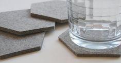 Gray Minimalist Geometric Drink Cup Table Coasters  Housewarming Hostess Gift Hexagon 5mm Wool Felt Modern Ecofriendly Sustainable Barware