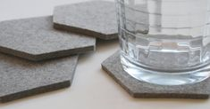 Gray Minimalist Geometric Drink Cup Table Coasters  by feltplanet