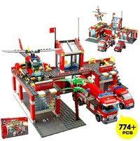 Wish | Kazi 774pcs/set City Fire Station Truck Helicopter Firefighter Minifigure Building Blocks Bricks Toys