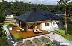 3 Single Story Modern House With Free Plan for 100 Square Meters Area Chalet Design, Single Floor House Design, Modern House Design, Modern Style Homes, Style At Home, Model House Plan, Rest House, Bungalow House Plans, Contemporary House Plans