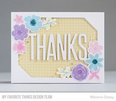 Stamps: More Rustic Wildflowers  Die-namics: More Rustic Wildflowers, Big Thanks, Stitched Tag-Corner Rectangle STAX    Melania Deasy  #mftstamps