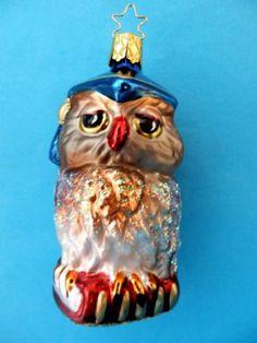 INGE GLAS PROFESSOR OWL GERMAN BLOWN GLASS CHRISTMAS TREE ORNAMENT