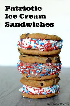 Patriotic Red, White and Blue Ice Cream Sandwiches. The perfect last-minute dessert for the 4th of July.