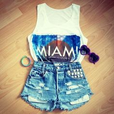miami top, high waisted shorts #summer #2013
