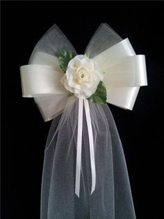 Pew-Ends-Chairback-Rose-Fluffy-Tulle-Wedding-Bows-choice-of-colour: