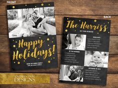 Happy Holidays with Large Family Photo on the front and 3 photos on the back. Room for highlights, year by numbers and upcoming plans for the new year. Happy Holidays and family name is in gold sparkle font on top of black chalkboard background. Send your friends and family a year in review holiday, Happy New Year Card this year complete with your beautiful family photos. This printable card is fully customizable from colors, fonts and # of photos (contact me for quote).