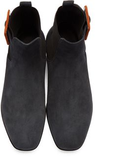 Wooyoungmi - Navy Suede Buckle Chelsea Boots