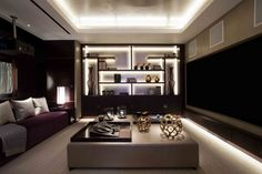 Great lighting design - from floor wash to coffered ceiling lighting to highlighting and adding interest to display shelving »« Knightsbridge House   Taylor Howes