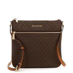 9666f8f403c4 Michael Kors Bedford Signature Flat Brown Crossbody Bag (Brown)